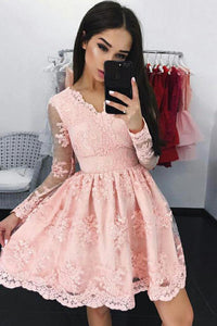 Chic Homecoming Dress V-neck Lace A-line Pink Short Prom Dress Party Dress OHM134