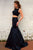 Elegant Bateau Sweep Train Backless Two Piece Black Mermaid Prom Dress with Beading LPD45 | Cathyprom