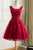 Burgundy Homecoming Dress Straps A-line Lace Appliques Lace-up Short Prom Dress Party Dress OHM162