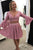 Two Piece Homecoming Dress V-neck Lace Long Sleeves Short Prom Dress Party Dress OHM159