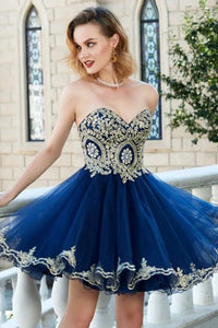 Sparkly A Line Sweetheart Sleeveless Appliques Short Tulle Homecoming Party Dress OHM099 | Cathyprom