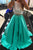 Two Piece Jewel Jade Sleeveless Sweep Train Lace Beading Prom Dress P67