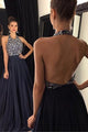 A-line Halter Sleeveless Sweep Train Backless Navy Blue Prom Dress with Beading LPD33 | Cathyprom