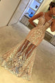 Mermaid V-Neck Floor-Length Sleeveless Ivory Tulle Prom Dress with Appliques P18
