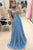 A-Line Jewel Sweep Train Cap Sleeves Blue Organza Prom Dress with Beading P26