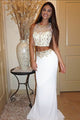 Two Piece Mermaid Jewel Sweep Train White Elastic Satin Prom Dress with Beading OHC089 | Cathyprom