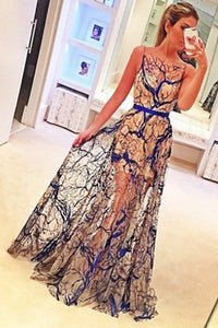 A-line Bateau Navy Blue Lace Sleeveless Sweep Train Prom Dress with Sashes P40