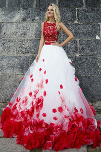 Two Piece Jewel Sweep Train Red Tulle Prom Dress with Appliques Flowers Z23