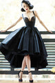 Vintage High Low Straps Sleeveless Lace Appliques Ruffles Short Satin Prom Dress OHC219 | Cathyprom