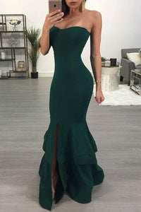 Trumpet/Mermaid Prom Dresses Sleeveless Long Satin Prom Dress Slit Sexy Evening Dress OHC253 | Cathyprom