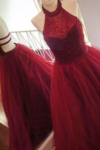 A-Line Halter Sweep Train Backless Dark Red Tulle Prom Dress with Beading P21