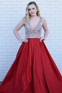 A-Line Deep V-Neck Sweep Train Dark Red Satin Backless Prom Dress with Beading L1