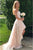 A-Line Strapless Hi-Low Pearl Pink Lace Prom Dress with Flowers PD4
