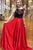 Two Piece Crew Sweep Train Red Satin Open Back Prom Dress with Embroidery Lace L26