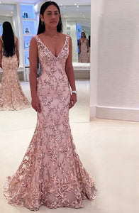 Mermaid Deep V-Neck Sweep Train Pink Lace Backless Sleeveless Prom Dress Q36