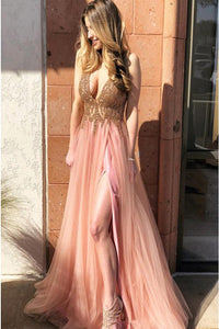 A-Line V-Neck Sweep Train Coral Prom Dress with Beading Split D4