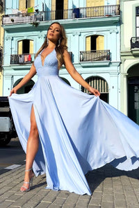 Simple Blue Deep V Neck Sweep Train Sleeveless Long Chiffon Prom Dresses Party Dress OHC322 | Cathyprom
