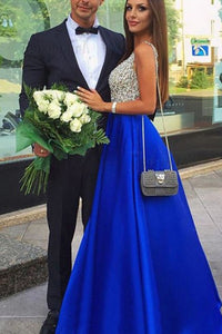 A-Line Deep V-Neck Floor-Length Royal Blue Prom Dress With Beading Pockets OHC015 | Cathyprom