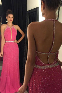 Sheath Jewel Sleeveless Sweep Train Backless Rose Pink Prom Dress with Beading L4
