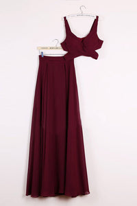 Cheap Two Piece Straps Floor-length Sleeveless Long Burgundy Chiffon Prom Dress OHC122 | Cathyprom