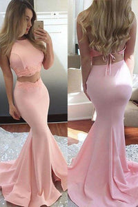 Two Piece Mermaid Jewel Sweep Train Pink Backless Prom Dress with Lace P100 | Cathyprom