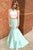 Mermaid Lace Two Piece Beading High Neck Sleeveless Sweep Train Mint Prom Dress PD14