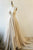 A-Line V-Neck Court Train Light Champagne Lace Prom Dress OHC068 | Cathyprom