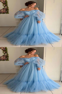 A Line Blue Tulle Off Shoulder Puffy Sleeves Long Prom Dress Evening Dress PD16