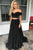 Black Prom Dresses Two Pieces Off-the-shoulder Short Sleeves Long Tulle Prom Dress/Evening Dress OHC302 | Cathyprom