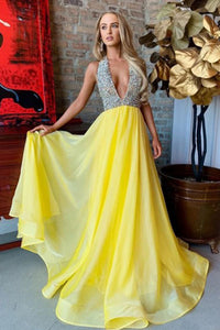 A-Line Halter Sweep Train Yellow Organza Prom Dress with Beading L9