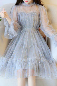 Blue Sparkly Star Long Sleeves Tulle Homecoming Dresses, Charming Short Prom Dress OHC515
