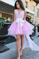 Cute A Line V Neck Short Homecoming Dresses Bowknot OHM014 | Cathyprom
