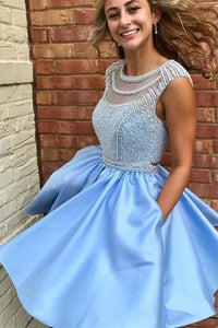 Beautiful Homecoming Dresses A Line Cute Beading Short Prom Dress Party Dress OHM137