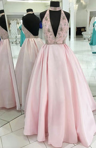 A-Line High Neck Sweep Train Keyhole Backless Pink Satin Prom Dress with Beading Q7