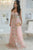 A-Line Sweetheart Sweep Train Pink Tulle Sleeveless Prom Dress with Embroidery C21