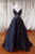 A-line Spaghetti Straps Open Back Sweep Train Black Prom Dress with Beading P73 | Cathyprom