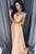 A-Line V-Neck Short Sleeves Floor-Length Beige Prom Dress with Beading OHC004 | Cathyprom