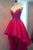 Sparkly Burgundy High Low Homecoming Dresses Lace Short Prom Dress Party Dress OHM178
