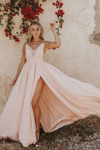 Chic A-line Spaghetti Straps Sleeveless Lace Applique Long Pink Chiffon Prom Dress Evening Dresses OHC292 | Cathyprom