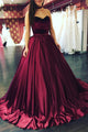 Elegant Ball Gown Sweetheart Sweep Train Sleeveless Long Burgundy Satin Prom Dresses OHC264 | Cathyprom
