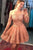 A Line Off the Shoulder Long Sleeves Homecoming Dresses with Appliques OHM026 | Cathyprom