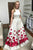 Mermaid Jewel Detachable Sweep Train White Printed Satin Prom Dress with Pockets L13