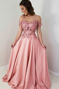 A Line Long Prom Dresses Off the Shoulder with Appliques OHC154 | Cathyprom