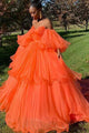 Orange Prom Dresses Off the Shoulder Ball Gown Party Dresses Long OHC045 | Cathyprom