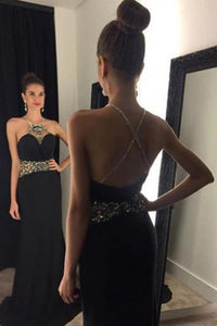 Mermaid Jewel Backless Sweep Train Criss-Cross Straps Black Prom Dress with Beading P83 | Cathyprom