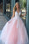 A-Line V-Neck Floor-Length Pink Prom Dress with Appliques Pearls OVR002 | Cathyprom