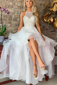 High Low White Halter Sleeveless Prom/Evening Dresses with Beading Ruffles OHC164 | Cathyprom