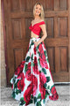 Two Piece Off-the-Shoulder Floor-Length Floral Prom Dress with Pockets D8