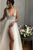 A-Line V-Neck Floor-Length Ivory Prom Dress with Beading Split OHC032 | Cathyprom