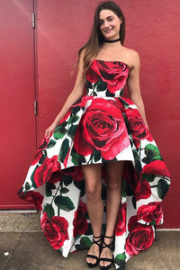 A-Line Sweetheart High Low Red Rose Floral Satin Prom Dress OHC103 | Cathyprom